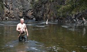 Fishing in the mountain lake