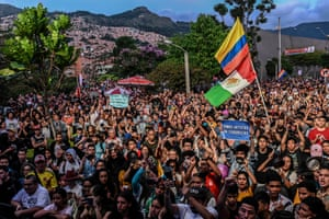 People attend to a concert in support of the strike against the government of Colombian president Iván Duque, in Medellin, Colombia on 1 December 2019, during the tenth consecutive day of protests.
