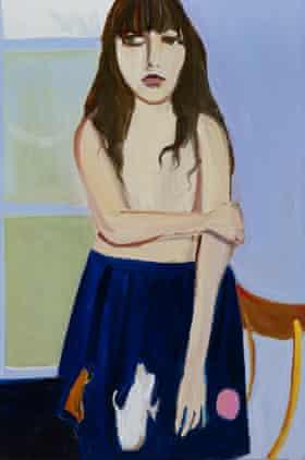 Chantal Joffe's Esme in a Blue Skirt, 2014.
