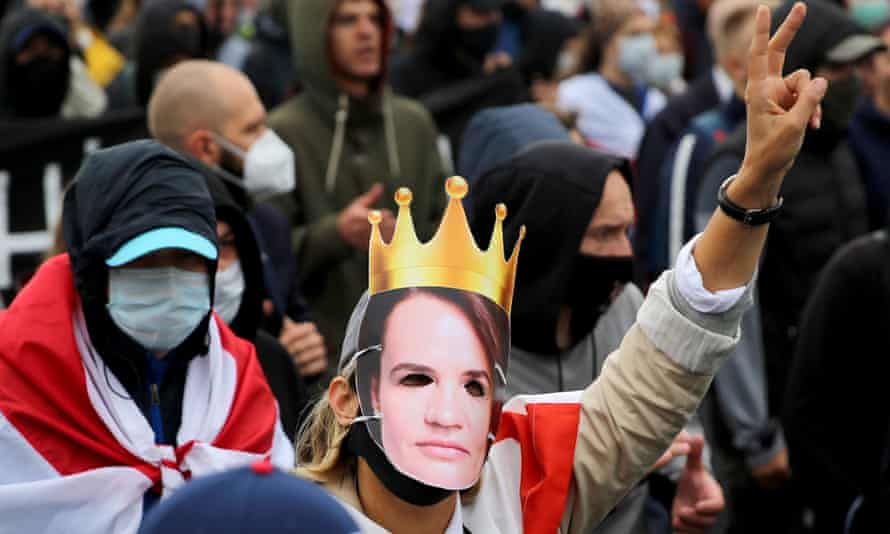 Protester wearing Svetlana Tikhanovskaya mask