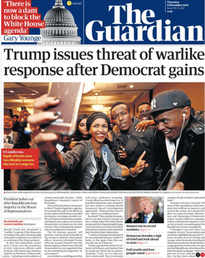 Guardian front page, Thursday 8 November 2018