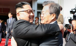 Kim Jong-un and Moon Jae-In embrace after their second summit in the North Korean side of the demilitarized zone.