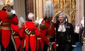 Black Rod, Lieutenant General David Leakey is greeted by members of the Honourable Corps of Gentlemen at Arms