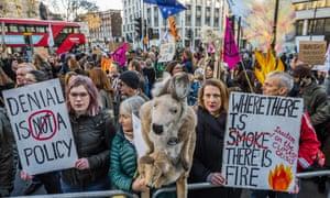 An Extinction Rebellion bushfire climate change protest outside the Australian embassy in London