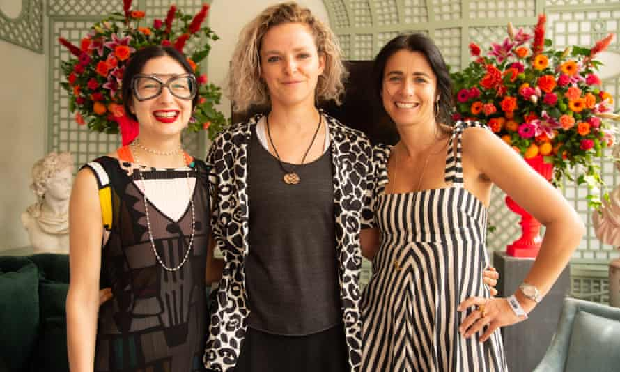 Sara Arnold, left, and Tamsin Omond of Extinction Rebellion, with Emily Sheffield, former deputy editor of Vogue, at the Port Eliot festival.