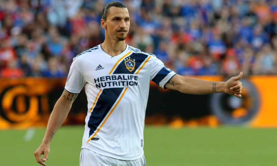 Zlatan Ibrahimovic ponders whether to go with the pretzels or nuts on the flight back to Los Angeles.