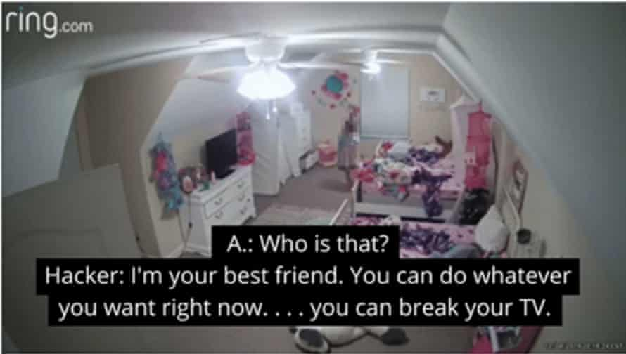 """image from ring camera with caption """"A: who is that? Hacker: i'm your best friend. you can do whatever you want right now... you can break your TV"""""""