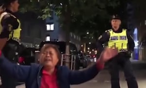 Screengrab from the 'video that purported to show the 'brutal treatment' of three Chinese tourists at a hotel in Stockholm'.