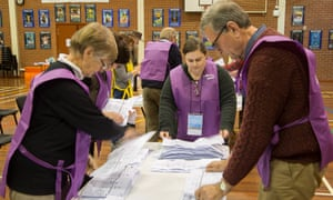 Senate vote counting on the night of the Australian federal election in Canberra, Australia