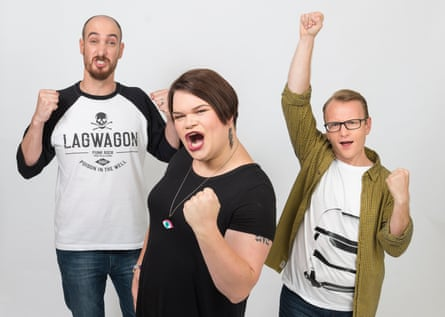Lee Naimo, Jordan Raskopoulos and Benny Davis, of comedy trio Axis of Awesome