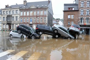 Verviers, Belgium: Cars piled up at a roundabout after heavy rains and floods across western Europe.
