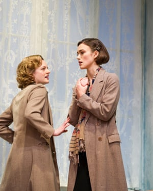 Elisabeth Moss (Martha Dobie) and Keira Knightley (Karen Wright) in The Children's Hour by Lillian Hellman at Comedy Theatre, London, directed by Ian Rickson, 2011