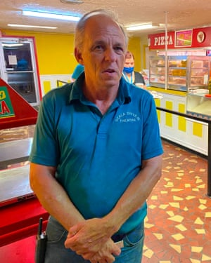 Owner John Watzke stands in the concession area at the Ocala drive-in theatre in Ocala, Florida.