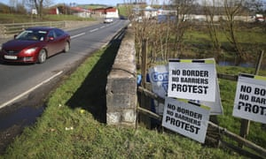 A motorist crosses the Irish border in Middletown, Northern Ireland