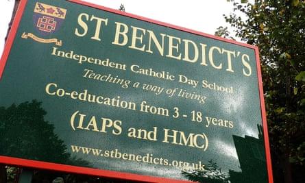 St Benedict's school in west London