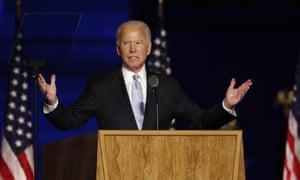 Joe Biden delivers his victory address in Wilmington, Delaware