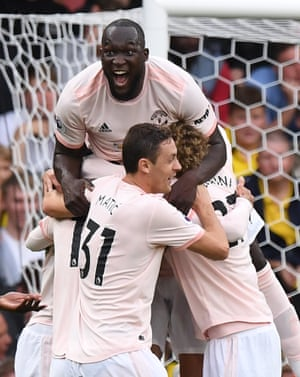 Manchester United celebrate Chris Smalling's goal in the 2-1 win over Watford. Smalling has finished on the winning side in all 11 Premier League games in which he has scored, the joint-best record in the competition (also 11 games for Ryan Babel).