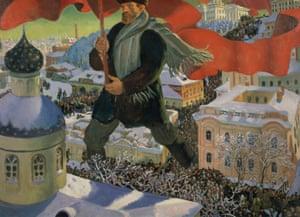 A revolutionary year … Bolshevik, 1920, by Boris Mikailovich Kustodiev.