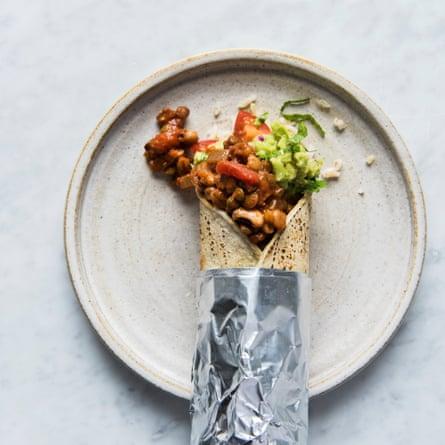 Anna Jones' burrito with chilli, brown rice, tomatoes and sour cream.