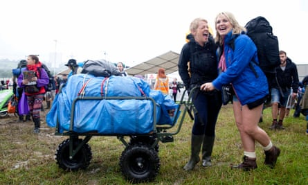 Della McCall, left, and Benita Richards from Chew Valley arrive at Glastonbury.