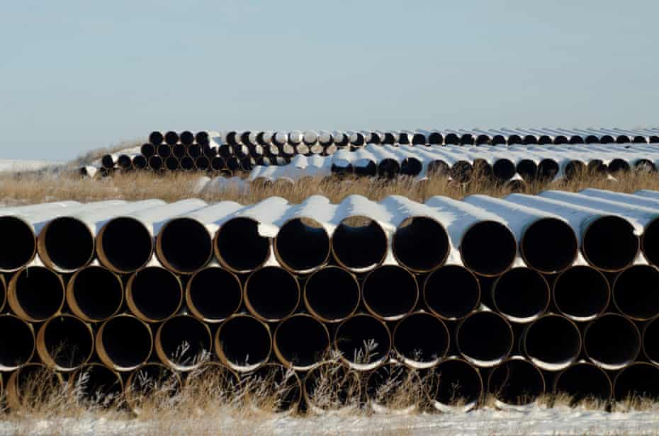 A depot used to store pipes for the planned Keystone XL oil pipeline in North Dakota.