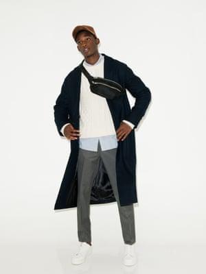 black coat H&M, cream knitted jumper Reiss, light blue shirt Whistles, white trainers Whistles, brown cap Universal works, black bumbag Asos