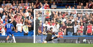 Chelsea's Pedro scores their first goal.