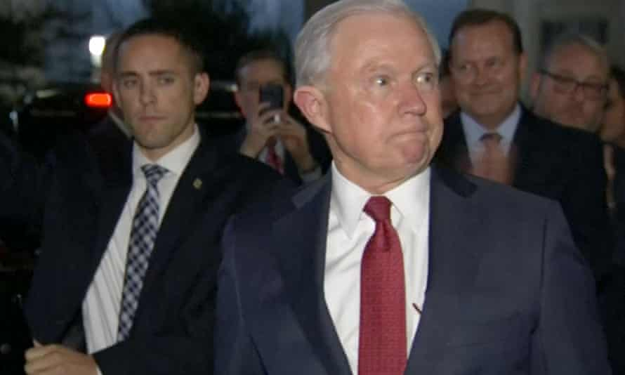 Former US attorney general Jeff Sessions is clapped out by staff of the justice department after he was fired by president Donald Trump.