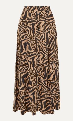 Tiger-print crepe midi skirt, £150, from Ganni