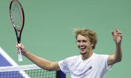 Alexander Zverev celebrates making it to the final.