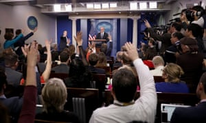 HR McMaster and White House press secretary Sean Spicer field questions from reporters during a press briefing at the White House Tuesday in Washington DC.