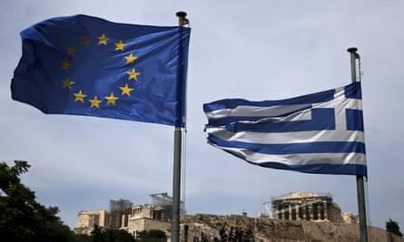 An EU flag and a Greek national flag