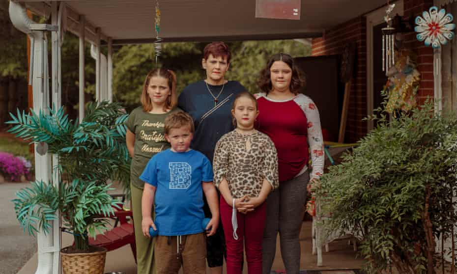 Mary Beth Cochran with her grandchildren, from left, Annie Webb, 11; Howie Webb, six; Isabella Webb, eight; and Kristin Webb, 12. Mary Beth is joint caretaker for her four grandchildren.