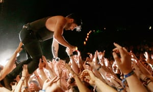 Crowd control … Yannis Phiippakis of Foals .