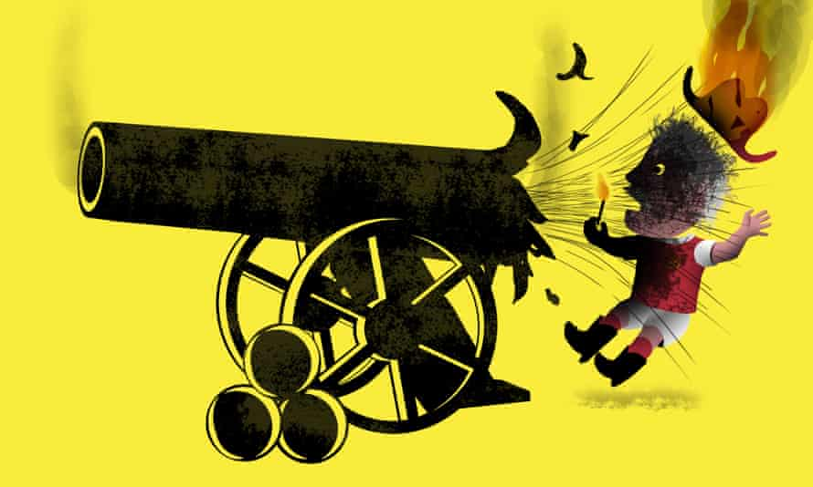 Illustration: a cannon backfires, burning a figure in an Arsenal shirt.