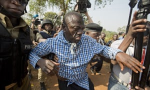 Kizza Besigye was arrested by police outside his home in Kasangati on 22 February.