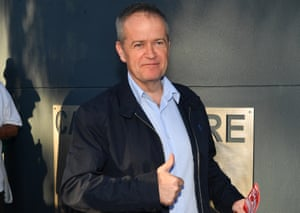 Leader of the opposition Bill Shorten at a polling station at the Caboolture State High School in Moray, north of Brisbane, Queensland, 28 July 2018.