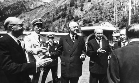 President Saragat and Charles De Gaulle at the Mont Blanc Tunnel's inauguration, 16 July 1965.