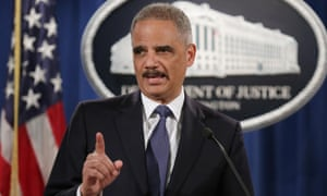 Attorney general Eric Holder at the justice department