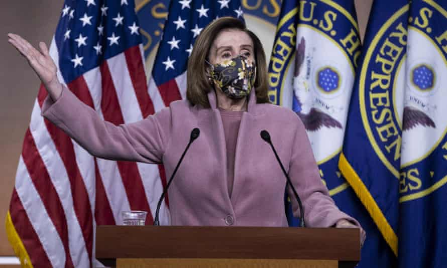 Nancy Pelosi speaks during a press conference on Capitol Hill on 21 January. When Trump was first impeached in 2019 she delayed the transfer of the case to the Senate.