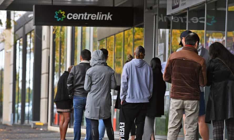 A queue outside a Centrelink office in Melbourne last week