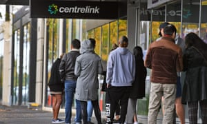 people queue outside Centrelink