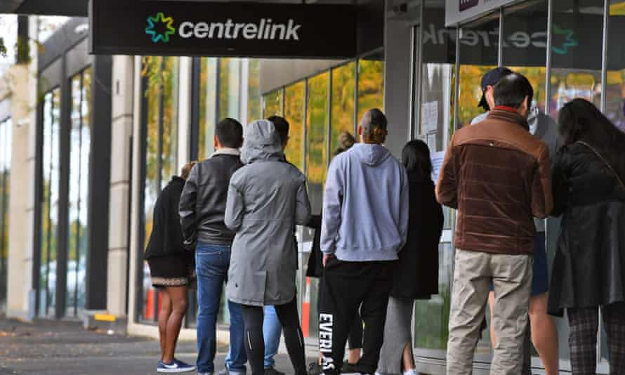 People line up outside Centrelink offices