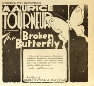 An advertisement from 1919 for Maurice Tourneur's The Broken Butterfly, now restored by the Film Foundation.