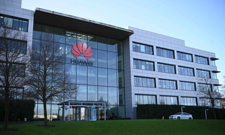 Huawei's modern glass office building with a prominent logo