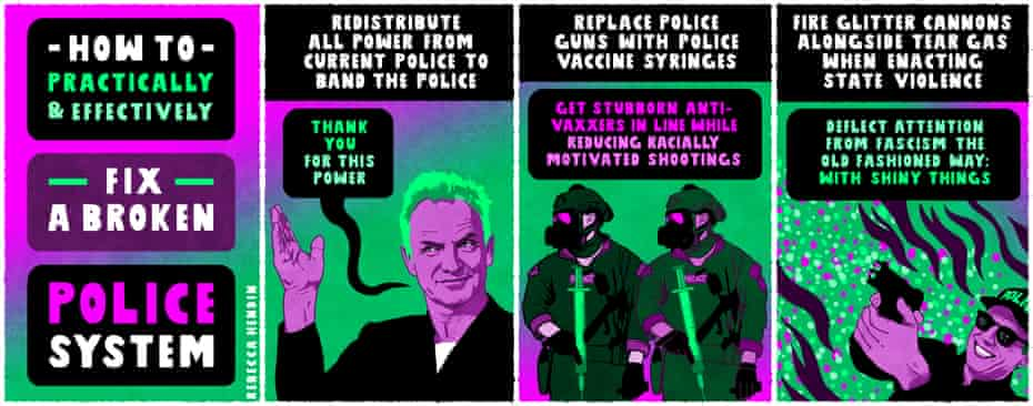 Rebecca Hendin's cartoon How to Practically & Effectively Fix a Broken Police System