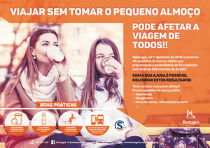 Portuguese train company Fertagus has launched a campaign to encourage commuters to eat breakfast before travelling, saying trains have been delayed due to passengers fainting.