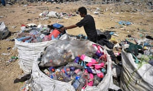 Recyclable plastic is gathered at the Ban Tarn landfill site in the northern Thai province of Chiang Mai.
