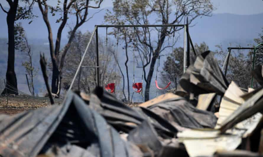 The burnt remains of a house destroyed in a bushfire in Kabra, Queensland, on 29 November 2018