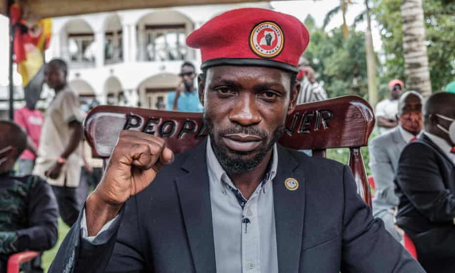 Ugandan opposition leader Bobi Wine poses for a photo after his press conference at his home in Magere, Uganda, in January.